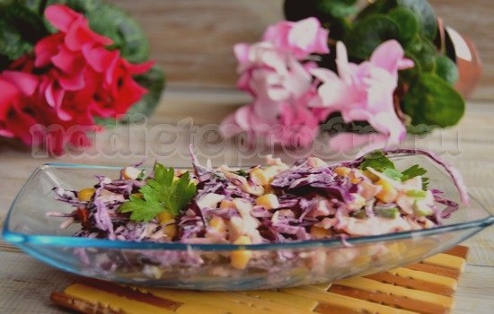 Салат с капустой и кукурузой: рецепт с фото