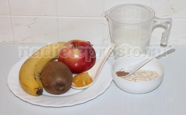 фрукты мед и овсянка