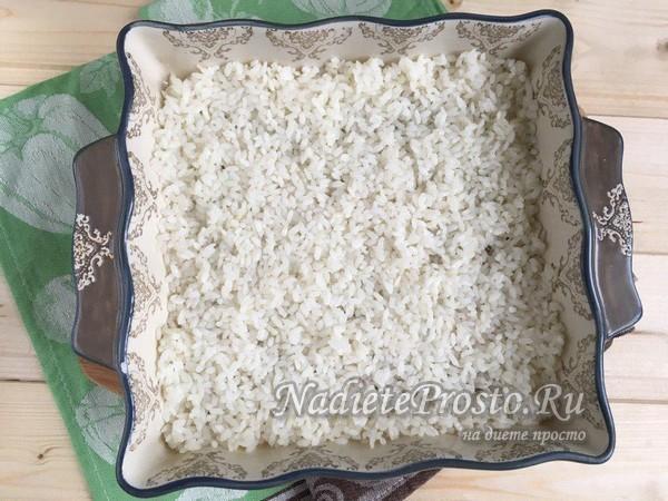 слой риса на противень