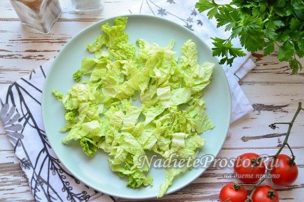 выложить листья на плоском блюде