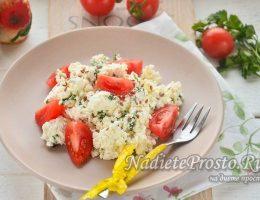 салат из творога с помидорами